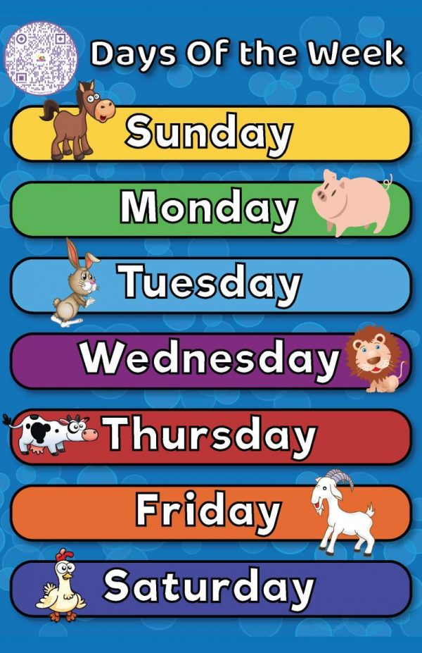 Days Of The Week Animals Poster